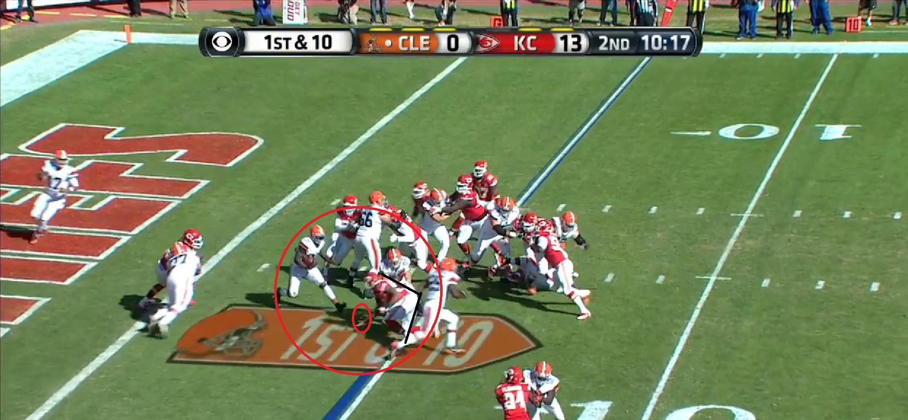 NFL Closeup: LB Derrick Johnson Taking on a Lead Block