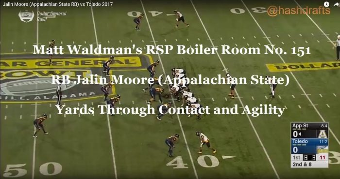 RSP Boiler Room No. 151 RB Jalin Moore (Appalachian State): Yards Through Contact and Agility