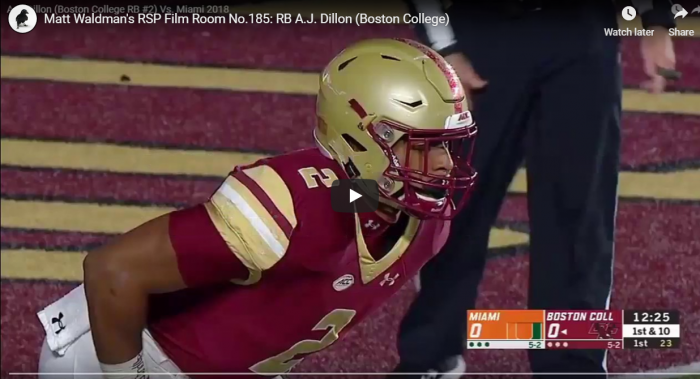 Matt Waldman's RSP Film Room No.185: RB A.J. Dillon (Boston College)
