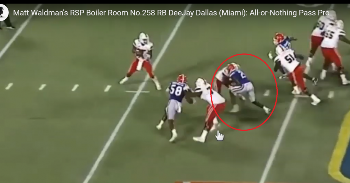 Matt Waldman's RSP Boiler Room RB DeeJay Dallas (Miami): All-or-Nothing Pass Pro